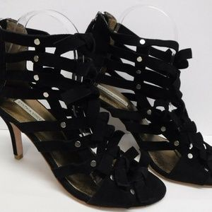 Cynthia Vincent Size 8.5 Black Leather Sandals New